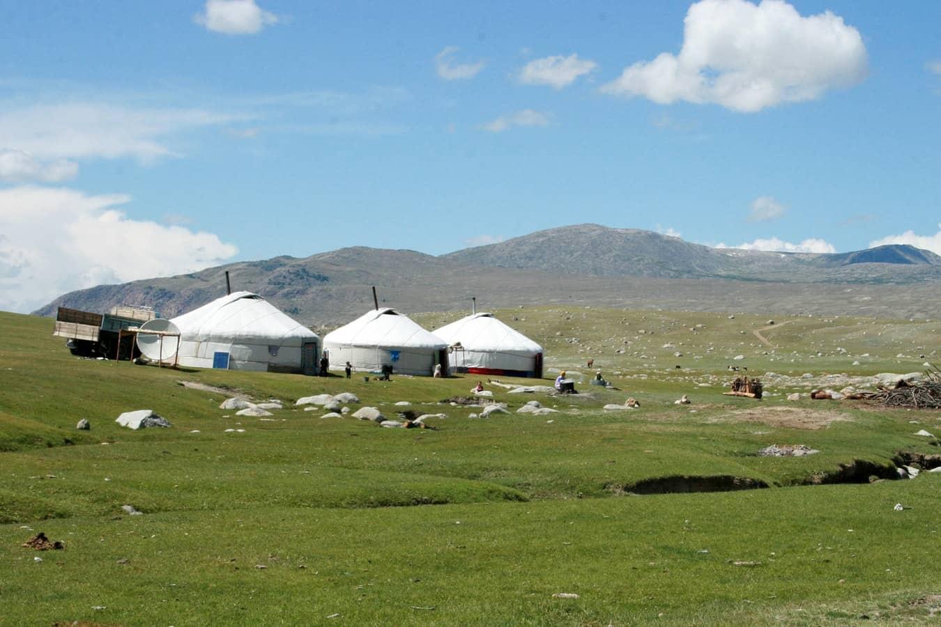 Row of yurts