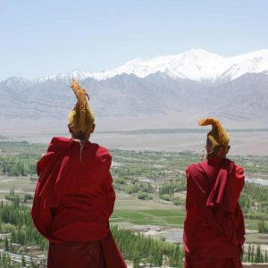 Ladakh monks in red robes