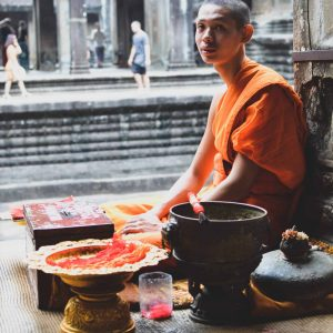 Cambodian monk in orange robe