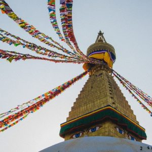 Temple with prayer flags